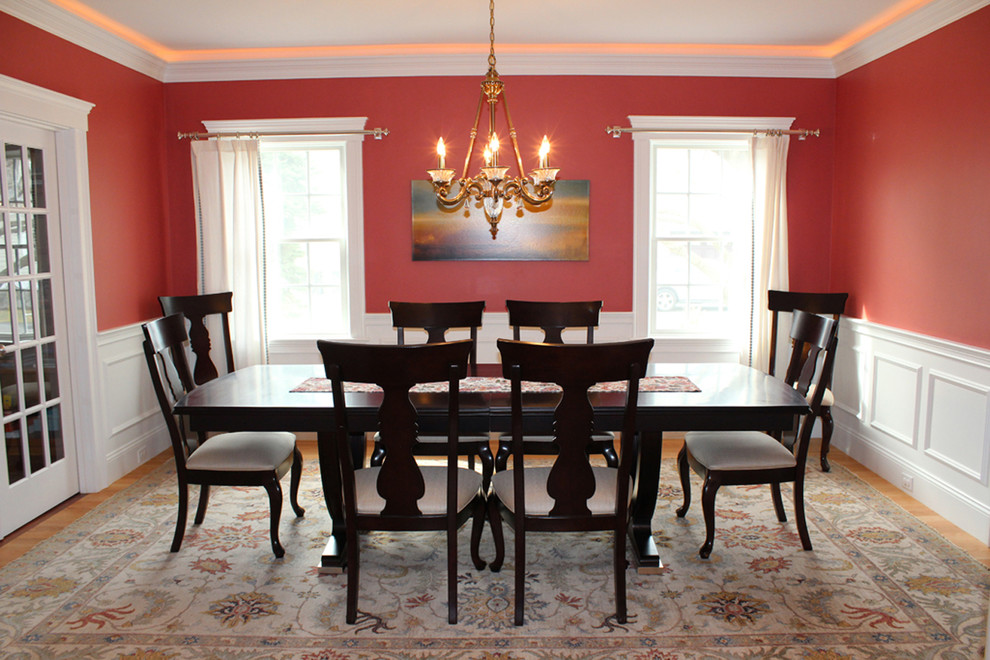 cresent furniture Dining Room Traditional with dining room red dining room white wainscoting