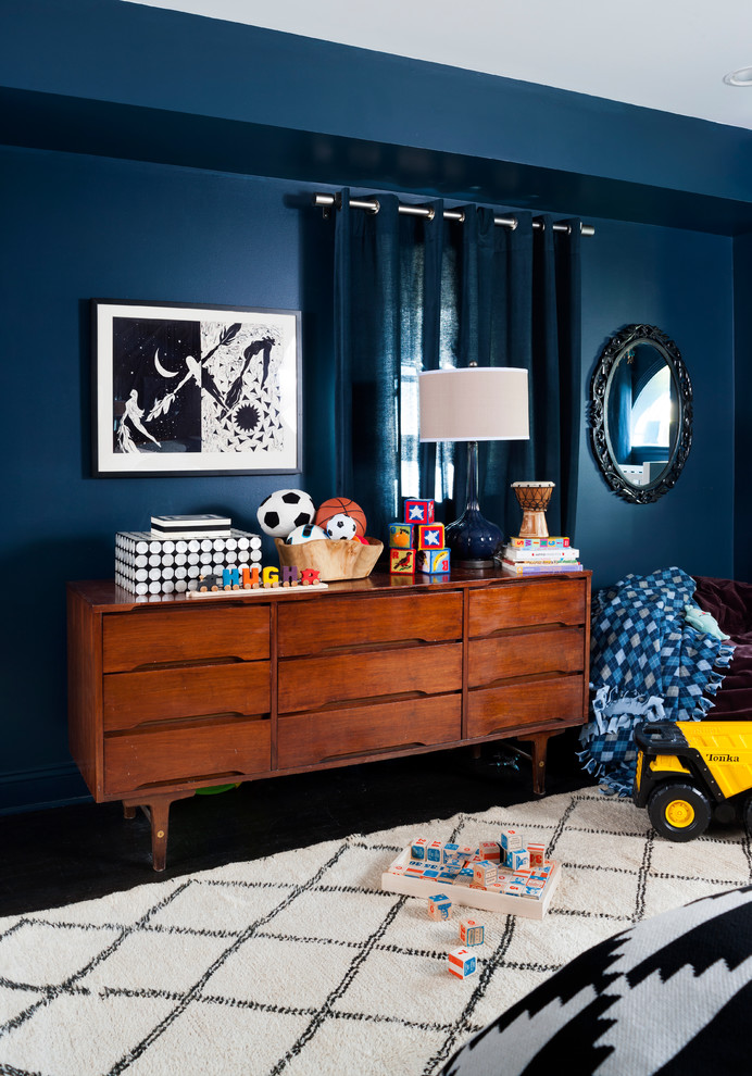Crib and Dresser Set Kids Transitional with Art Arrangement Bean Bag Black and White Blue Walls Boys Room Deep