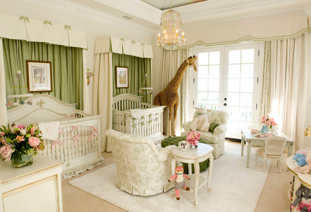 Crib Changer Combo Nursery Traditional with Beige Curtains Beige Floor Beige Patterned Armchair Beige Side Table Chandelier Colorful
