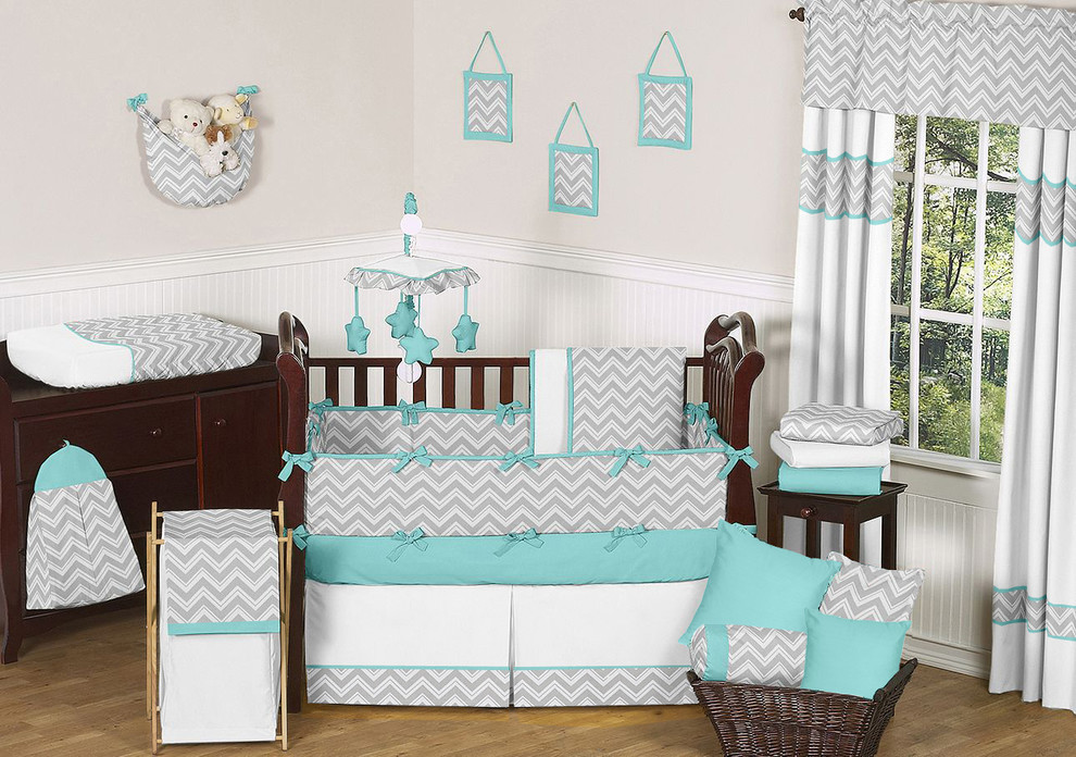 Crib Dust Ruffle Nursery Modern with Baby Bedding Chevron Crib Bedding Turquoise Zigzag