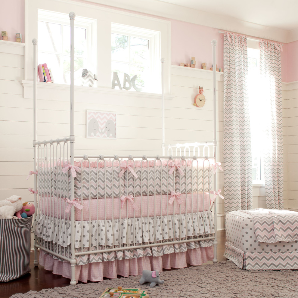 Crib Dust Ruffle Nursery Traditional with Bedskirt Bows Chevron Chevron Print Classic Dots Dust Ruffle Girl Girls Room