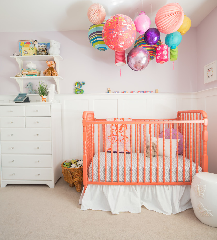 crib dust ruffle Nursery Transitional with Amy Butler Fabric coral dresser grey lilac jenny lind crib lanterns lavender