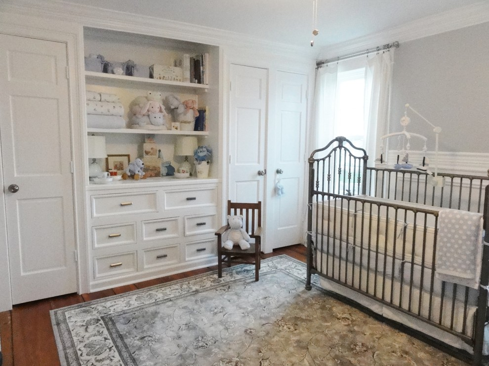 Crib Mobiles Nursery Traditional with Area Rug Built in Shelves Built in Storage Chest of Drawers Crown