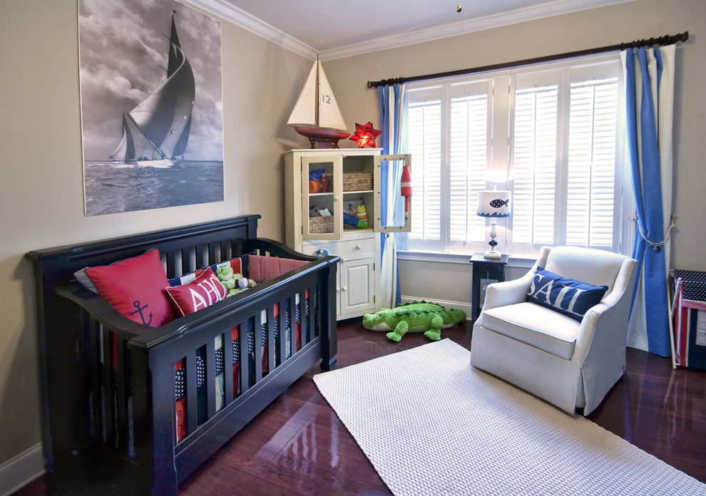 Crib Sets for Boys Nursery Contemporary with Anchor Bedroom Beige Wall Black Crib Blue Accents Blue and White Curtains