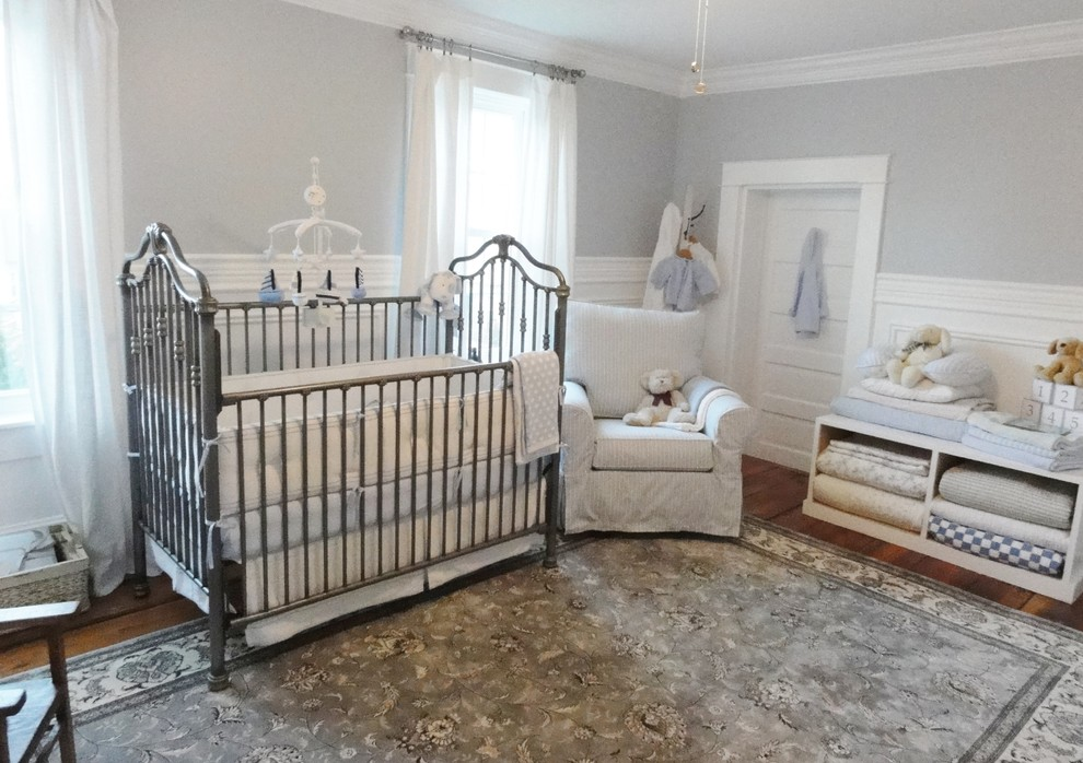 Crib Sets for Boys Nursery Traditional with Area Rug Baseboards Blankets Crown Molding Curtains Decorative Crib Mobile Drapes Floral