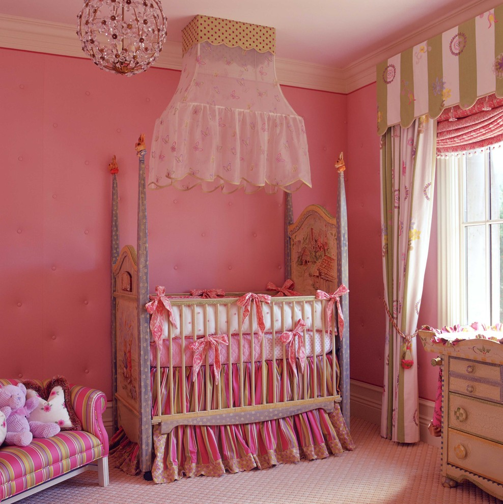 Crib Sheets Nursery Traditional with Bed Carpet Chandelier Cottage Drapes Fabric French Pink Pink Chandelier Romantic Window