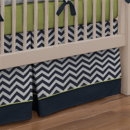 crib skirt Kids Contemporary with chevron modern nursery navy
