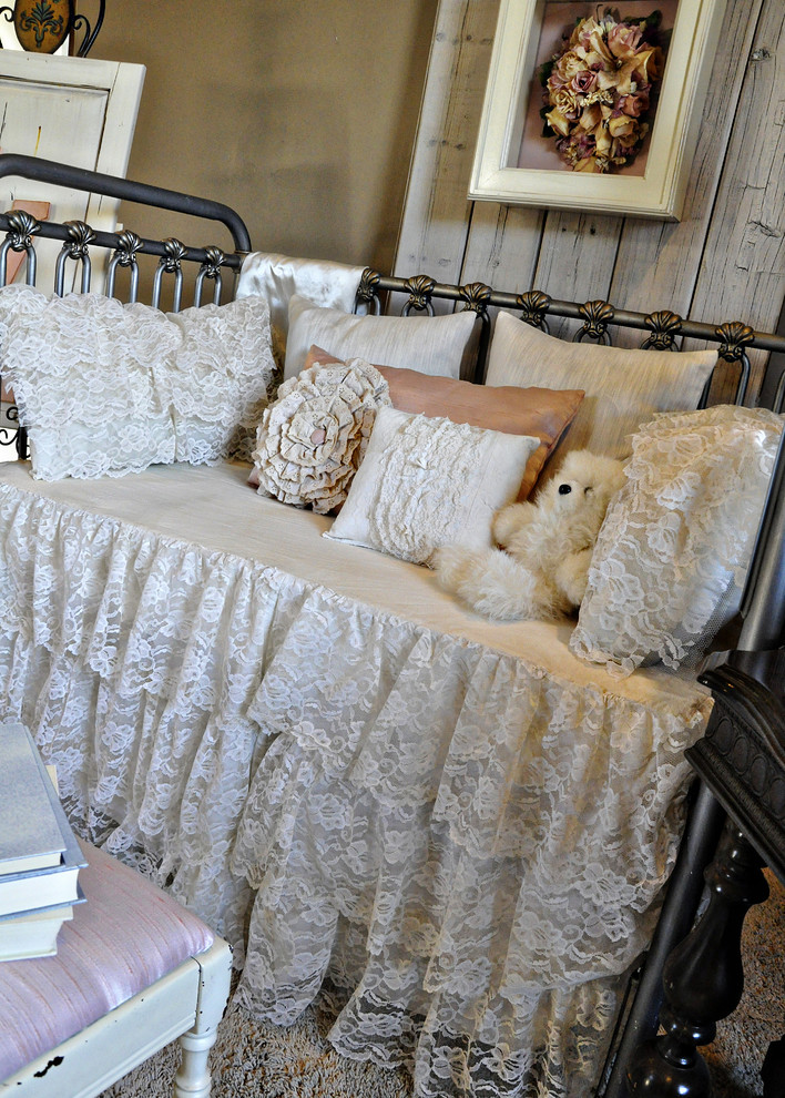 Crib Skirt Kids Shabby Chic with Bed Pillows Bedroom Day Bed Decorative Pillows Dust Ruffle Iron Bed Lace