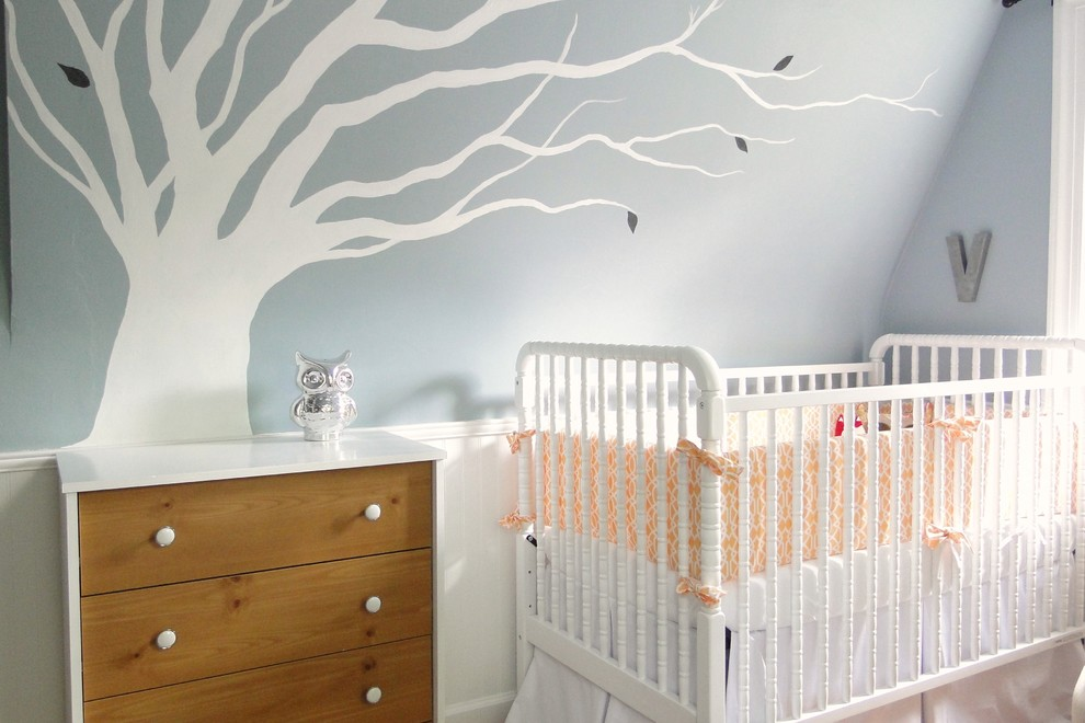 Crib Skirt Nursery Contemporary with Beadboard Blue Walls Chest of Drawers Crib Bedding Crib Bumper Dresser Nursery