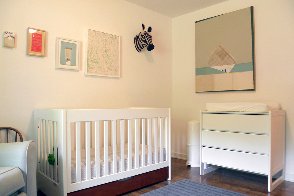 crib with changing table Nursery Midcentury with abstract art Boy's Room changing table contemporary crib dresser Mary Emma Hawthorne