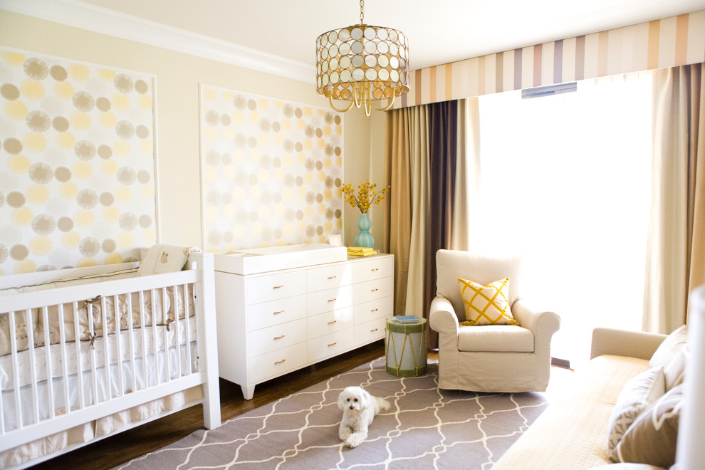 Crib with Changing Table Nursery Transitional with Accent Table Area Rug Armchair Baby Room Changing Table Crib Curtains Light