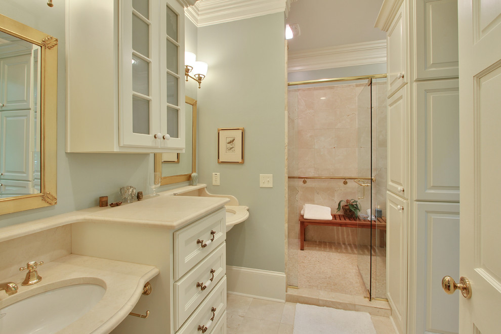 croscill comforters Bathroom Traditional with brass fixtures custom gilded mirrors Kohler fixtures light blue walls marble countertops