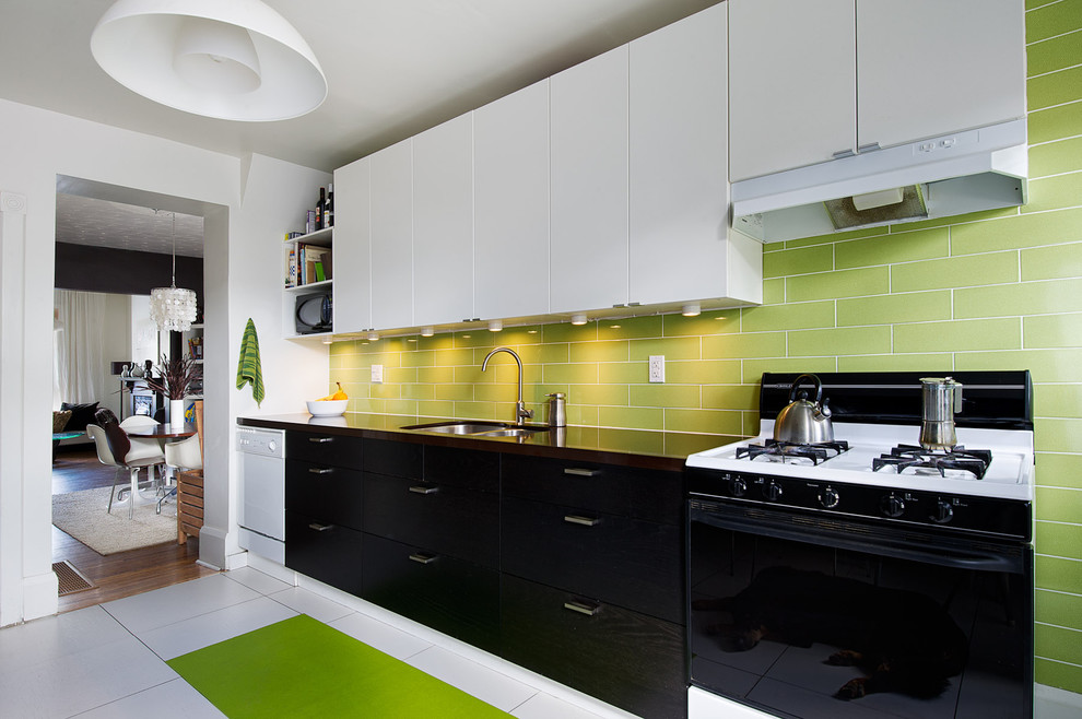 Crosley Turntable Kitchen Contemporary with Black Cabinets Green Green Tile Backsplash Linear Kitchen Modern Small Kitchen Two Tone