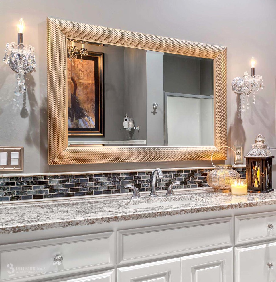 Crystal Cabinet Knobs Bathroom Transitional with Crystal Cabinet Knobs Crystal Sconces Elegant Bathroom Granite Countertops Platinum Textured Mirror