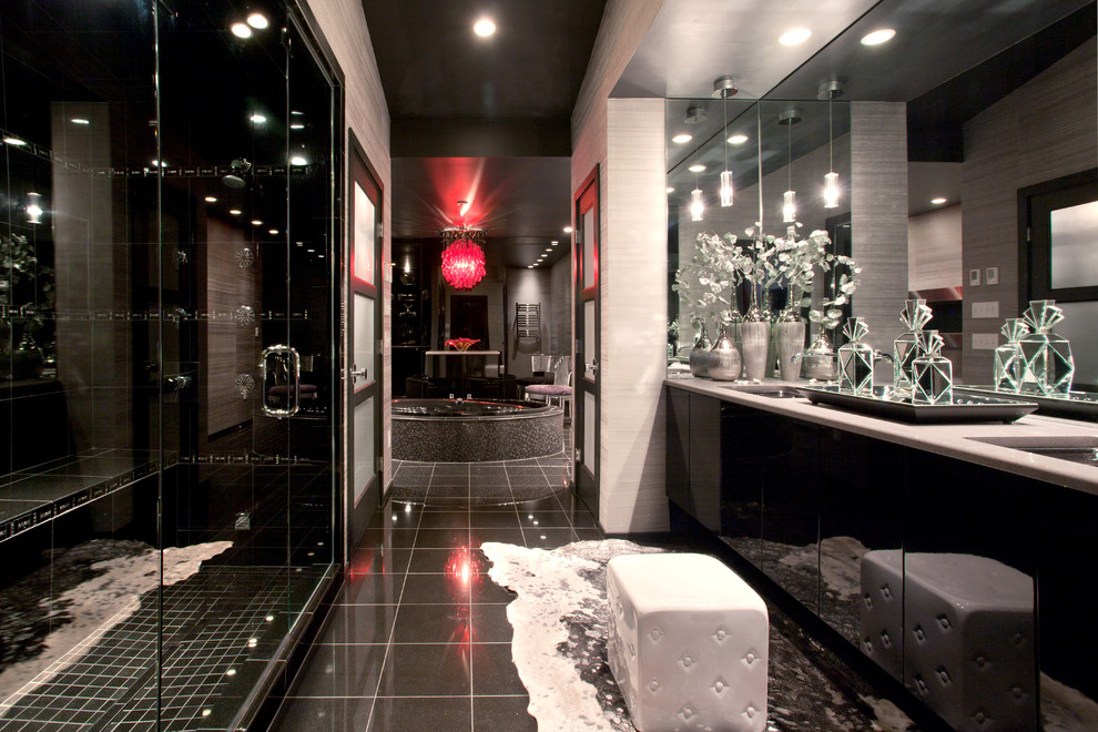 Crystal Decanter Set Bathroom Contemporary with Black and White Black Bathroom Black Ceiling Frameless Shower Door Glossy Hide