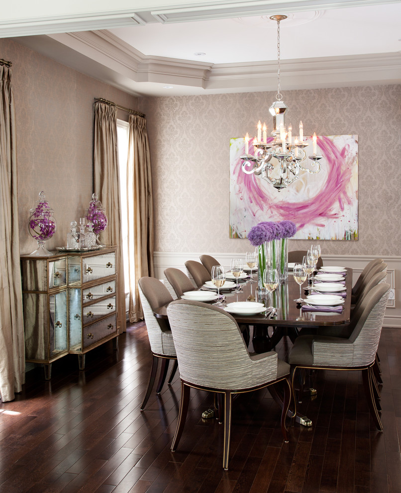 Crystal Decanter Set Dining Room Traditional with Antique Mirror Sideboard Beige Curtains Beige Molding Beige Patterned Wallpaper Brown Dining