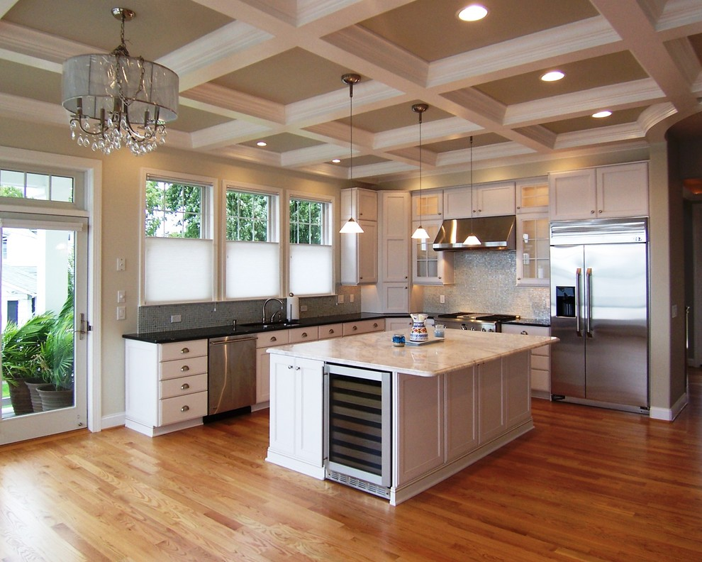 Crystorama Chandelier Kitchen Traditional with Black Countertops Ceiling Lighting Chandelier Coffered Ceiling Crown Molding Grey Wall Kitchen