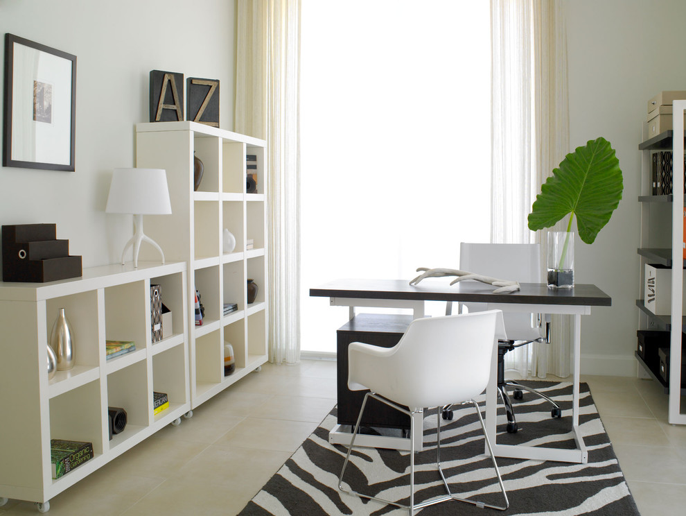 Cubby Shelves Home Office Modern with Beige Tile Black and White Decor Black and White Desk Black And