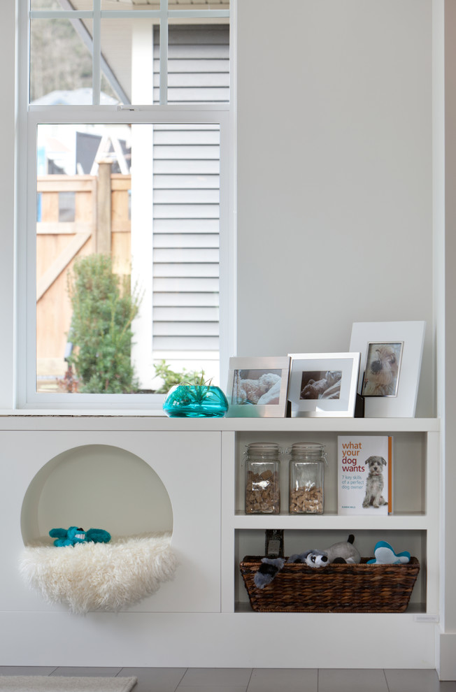 Cubby Shelves Kitchen Contemporary with Basket Built in Dog Bed Double Hung Window Gray Wall Ledge Muntins Natural