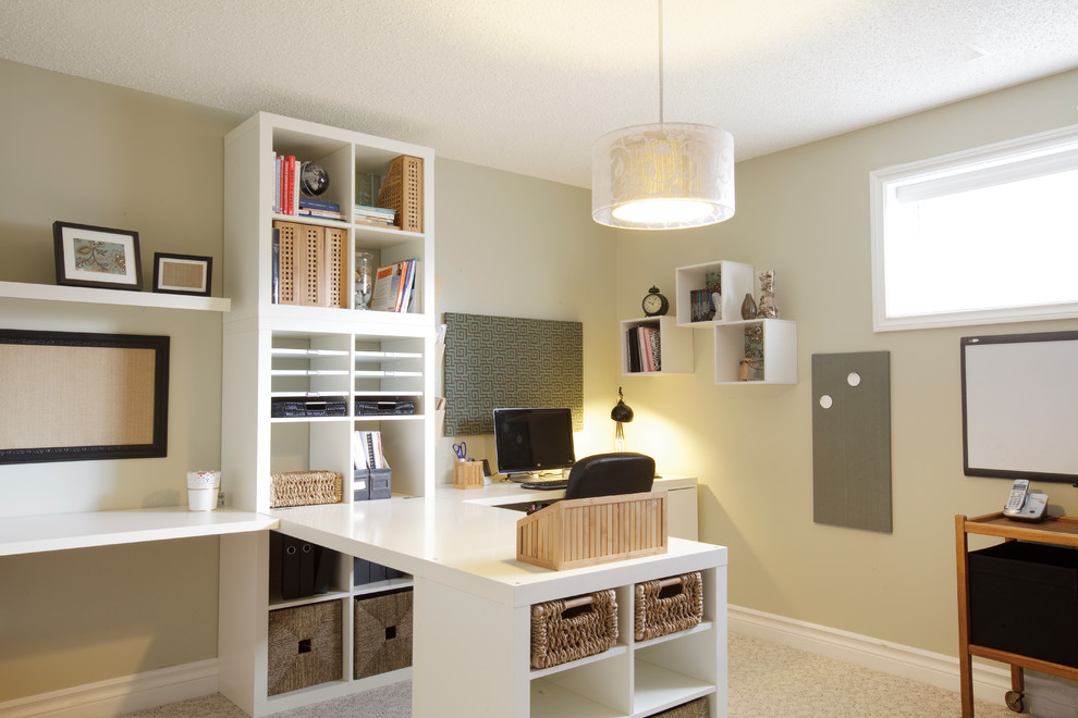 Cube Shelves Home Office Traditional with Beige Wall Built in Bookcase Built in Bookshelf Built in Desk Built in White Desk Bulletin