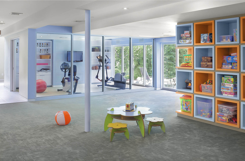 Cube Shelves Kids Contemporary with Accent Wall Built in Cubbies Gym Lavender Orange Playroom Shelves Shelving Storage