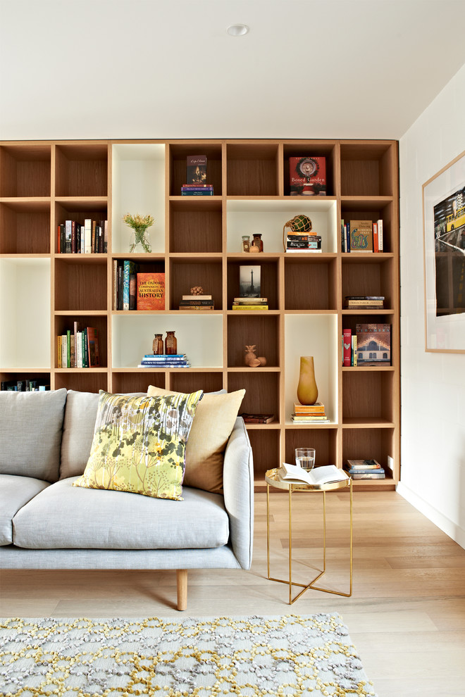 cube shelves Living Room Contemporary with built in bookshelves custom bookshelves gold side table gray couch yellow and