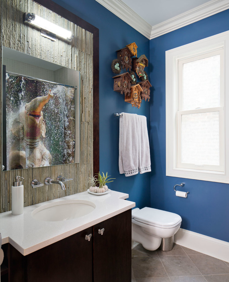 Cuckoo Clock Bathroom Transitional with Bath Bar Bathroom Floor Tile Blue Paint Boys Bathroom Cuckoo Clock Cuckoo