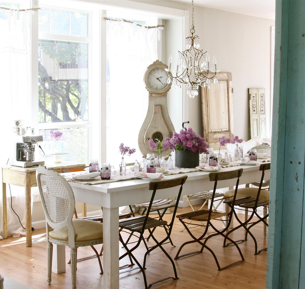 Cuckoo Clocks for Sale Dining Room Shabby Chic with Bistro Chairs Crystal Chandelier Farmhouse Table Flea Market French Chair Grandfather Clock