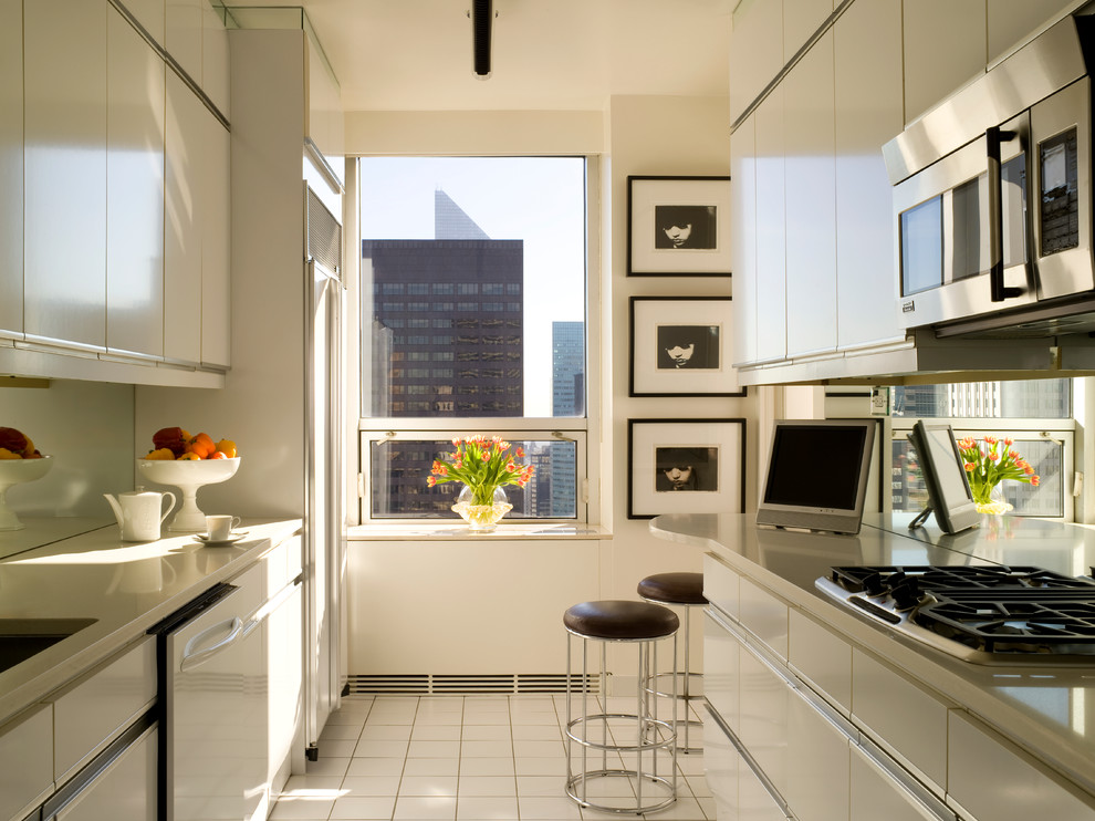 Cuisinart Citrus Juicer Kitchen Contemporary with City View Counter Stools Framed Art Mirror Backsplash Tile Floor Window Sill