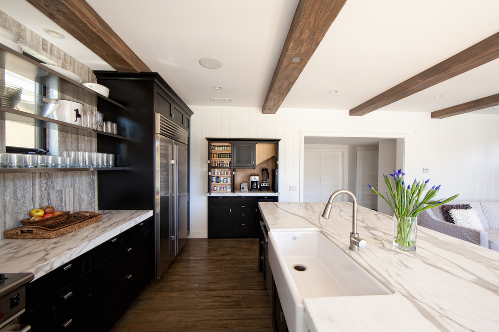cuisinart coffee on demand Kitchen Contemporary with black cabinets edge pulls exposed beams island island sink kitchen open shelves