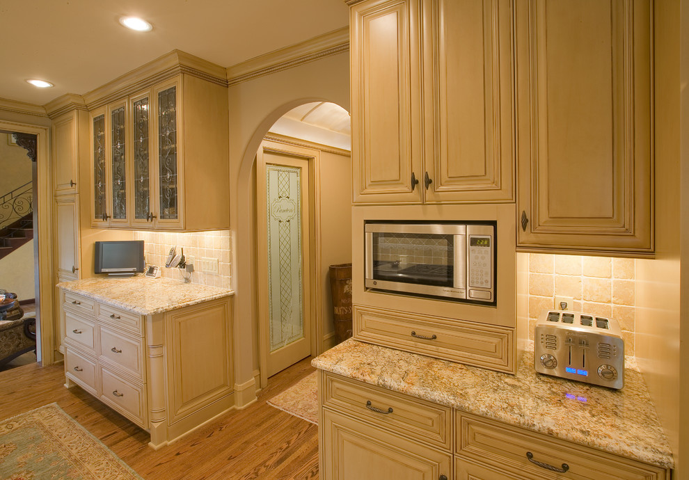 Cuisinart Convection Bread Maker Kitchen Traditional with Arch Doorway Barrel Ceiling Beige Cabinets Built in Microwave Frosted Glass Glass Cabinets