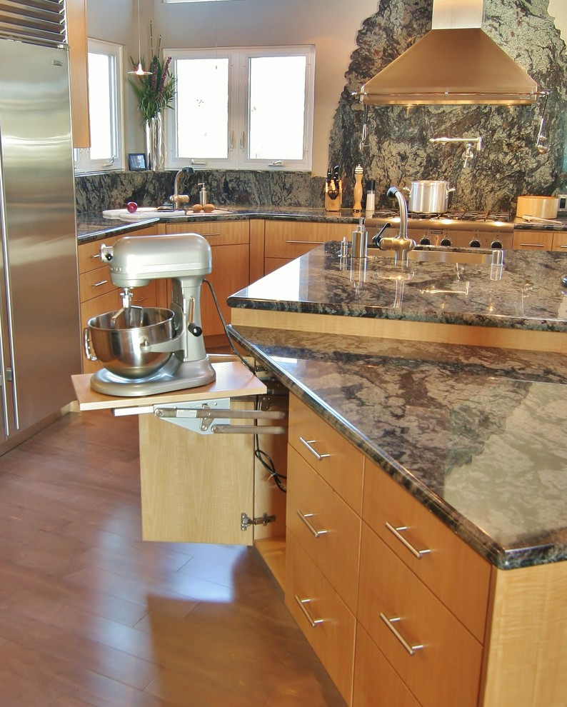 Cuisinart Stand Mixer Kitchen Modern with Faucet Appliances Baking Center Bar Bar Stool Booth Cabinetry Chiseled Granite Counter
