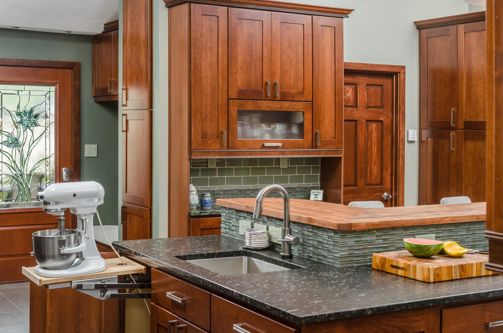 Cuisinart Stand Mixer Kitchen Transitional with Cherry Cabients Clean Contemporary Electrolux Floor Tiles Frosted Glass Cabinets Glass Door