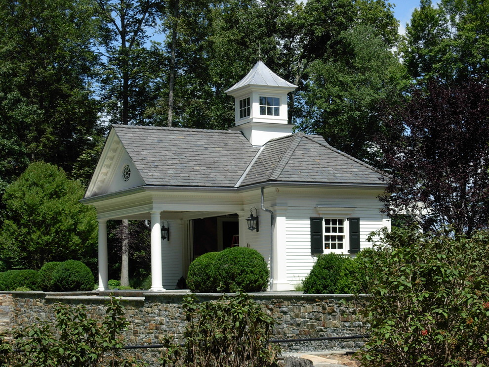 cupola for sale Exterior Traditional with black shutters columns cupola horizontal wood siding low walls shingles stacked stone