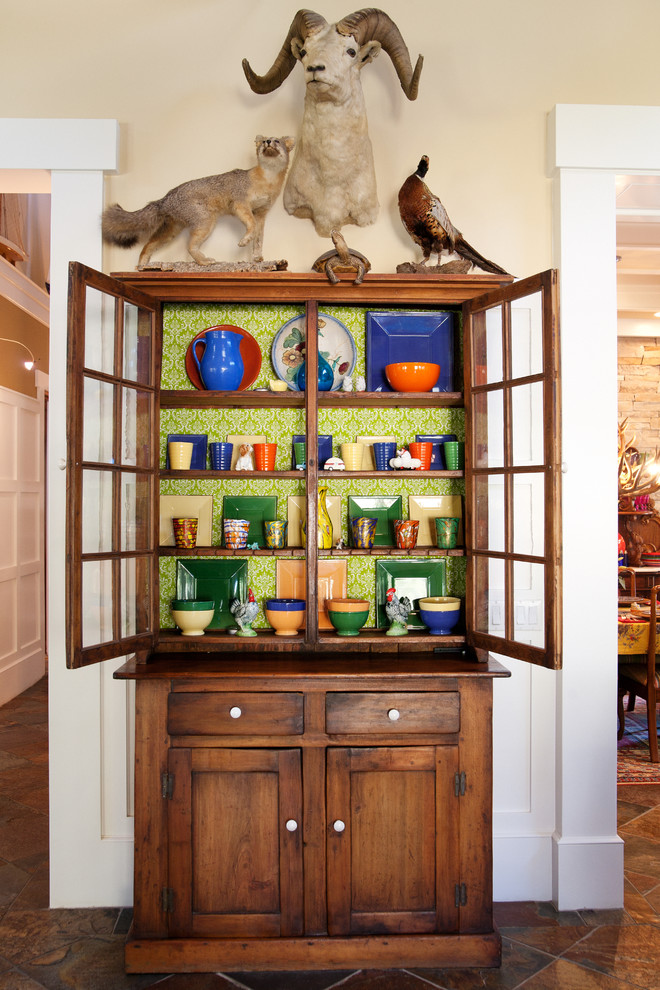 Curio Cabinet Dining Room Eclectic with China Cupboard Fox Green Wallpaper Mounted Animals Pheasant Ram Stoneware White Porcelain