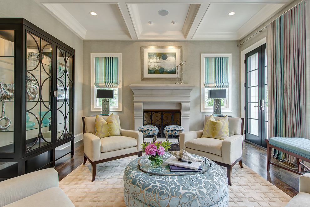 Curio Cabinet Living Room Transitional with Blue Box Beams Cocktail Ottoman Coffered Ceiling French Doors Hickory Chair Hickory