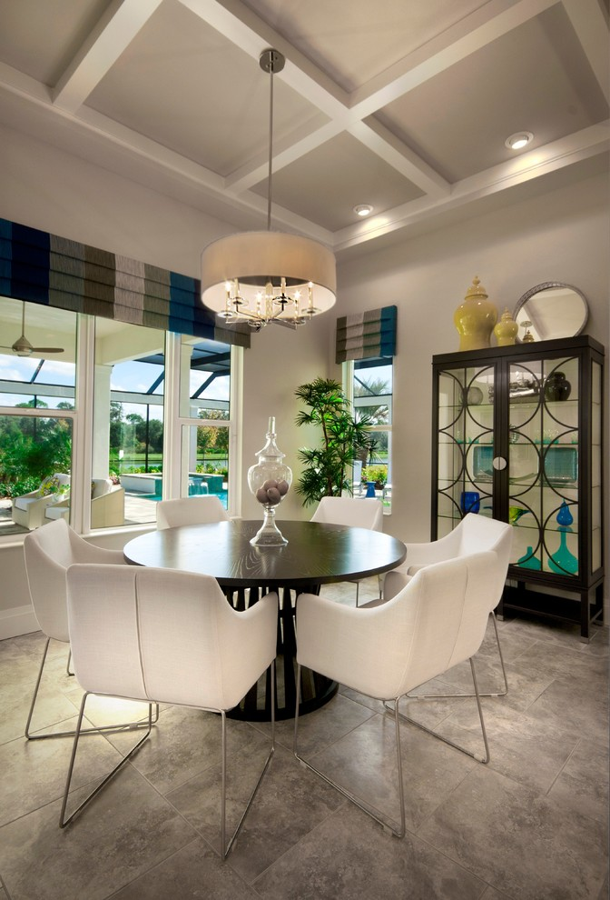 curio cabinets for sale Dining Room Contemporary with breakfast nook cafe casual dining chairs chandelier coffered ceiling drum pendant Interior