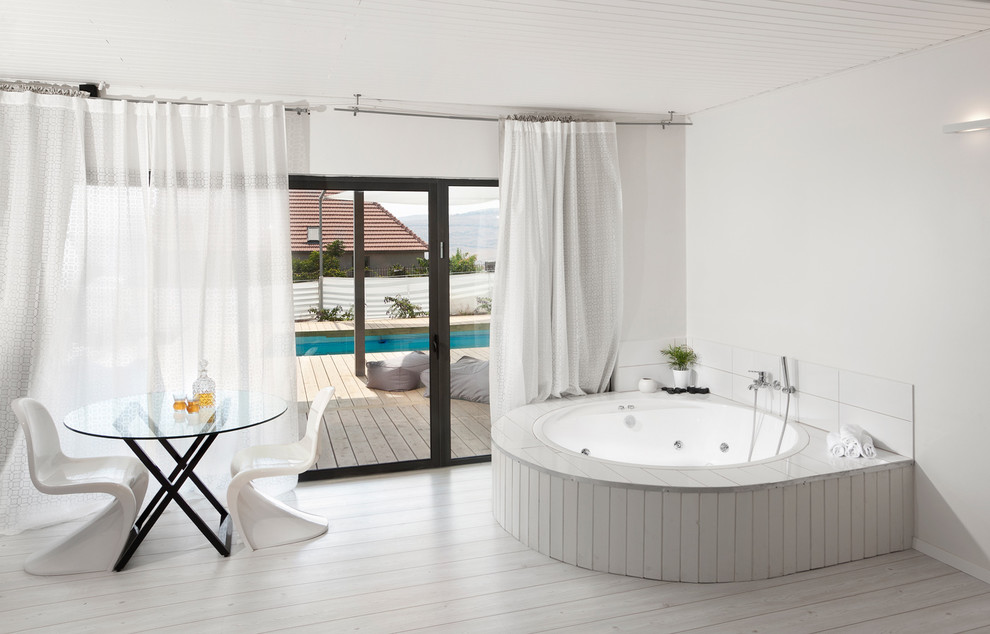 Curtain Rings with Clips Bathroom Modern with Bath Accessories Curtain Hardware Curtains Drapes Glass Doors Glass Table Panton Chair