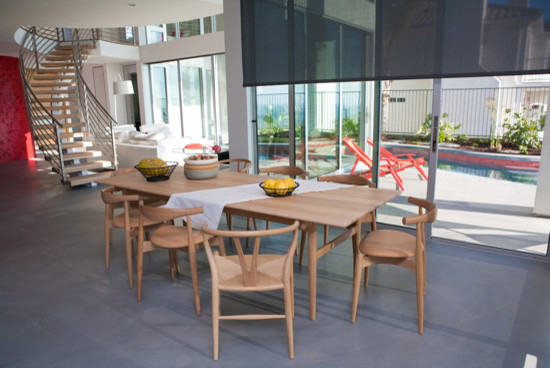 Curtain Rings with Clips Dining Room Contemporary with Dining Chair Dining Set Dining Table Electric Shade Red Wall Sliding Glass