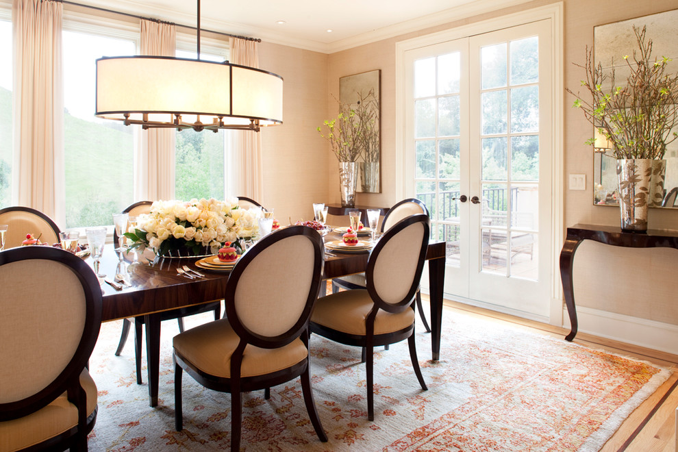 Curtain Rod Hardware Dining Room Traditional with Art Bench Dining Room French Door Tile Floor Upholstered Dining Chair Windows