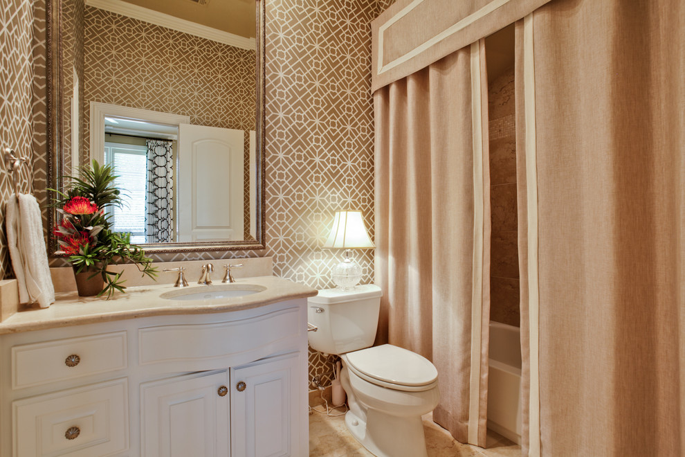 curtain valances Bathroom Traditional with beige countertop beige shower curtain beige stone floor double shower curtain gold