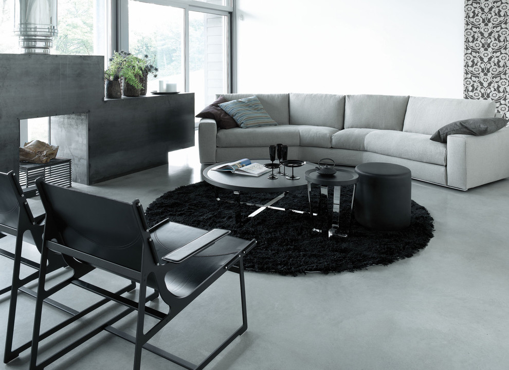 Curved Couch Living Room Contemporary with Black Chair Black Rug Chrome Gray Sofa Modern Chair Modern Fireplace Round