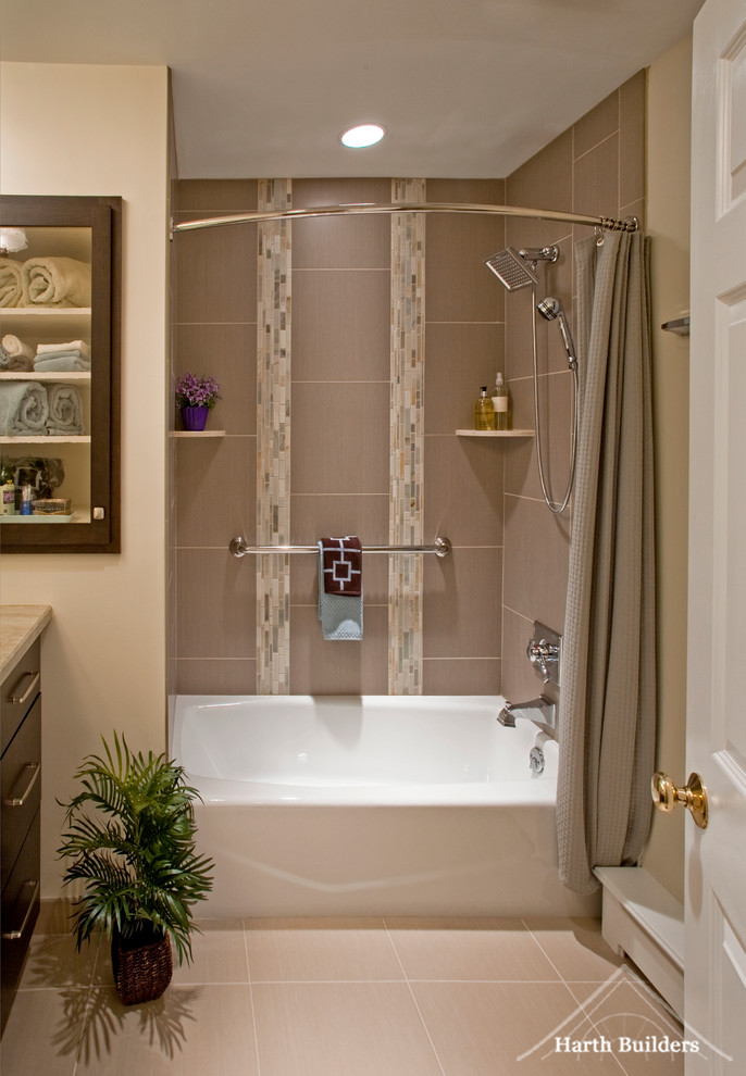 Curved Shower Rod Bathroom Contemporary with Artistic Tile Bathroom Bathtub Built in Storage Curved Shower Curtain Rod Hall Bathroom