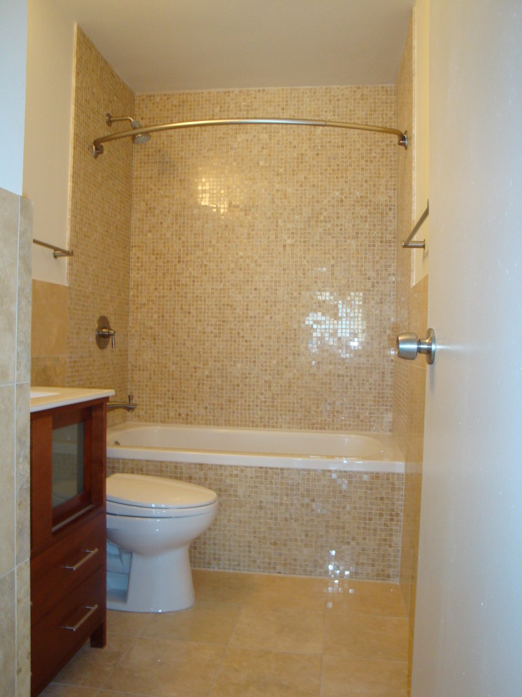 curved shower rod Bathroom Eclectic with none