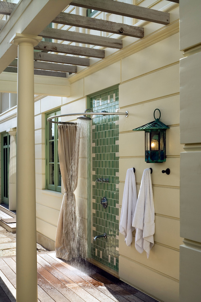 Curved Shower Rod Patio Beach with Curved Shower Curtain Rod Green Tile Green Trim Outoor Lighting Round Column