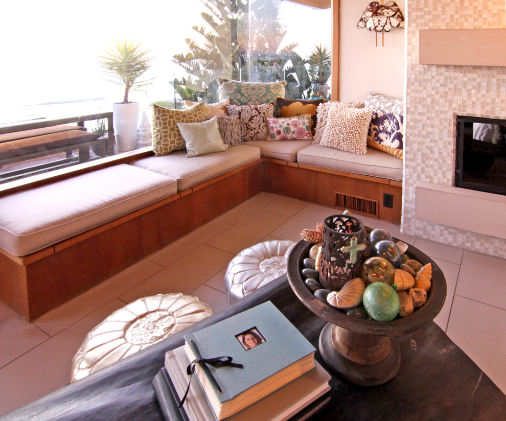 custom bench cushions Family Room Eclectic with built in bench seat corner bench corner window deck mantle ocean view