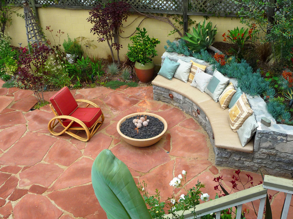 Custom Bench Cushions Patio Mediterranean with Backyard Firepit Built in Bench Contemporary Garden Curved Sofa Drought Tolerant Plants Fire