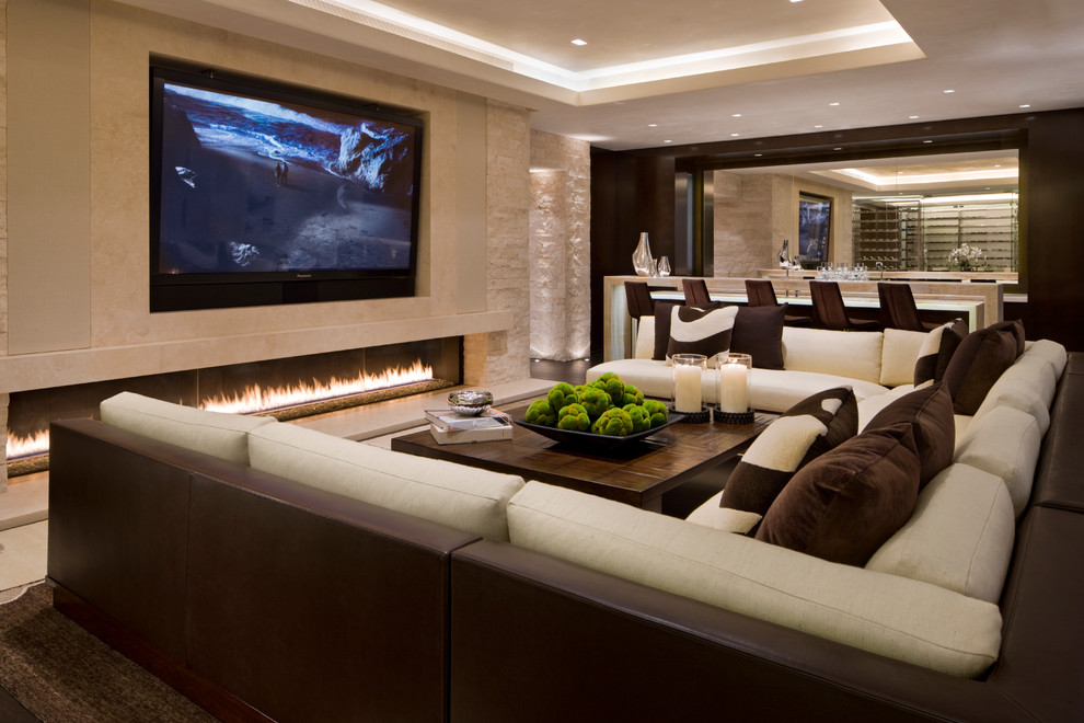custom sectional sofa Family Room Contemporary with bar chocolate brown cream ivory linear fireplace long fireplace media room recessed