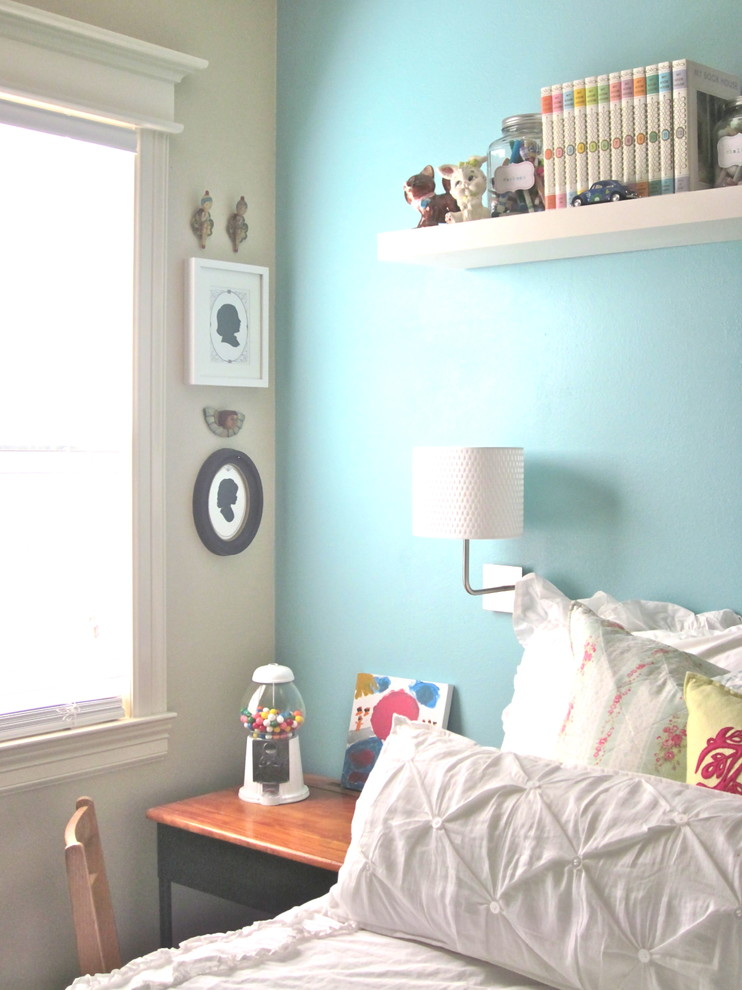Dale Tiffany Lamps Kids Shabby Chic with Accent Wall Bed Pillows Bedroom Blue Wall Desk Floating Shelves Sconce Wall1