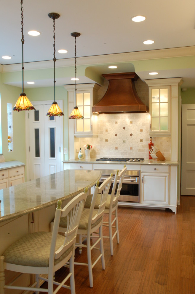 Dale Tiffany Lamps Kitchen Traditional with Breakfast Bar Breakfast Counter Copper Hood Cream Glass Door Front Hardwood Floor1